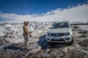 Jäätikön yli menevät tiet olivat vielä toukokuussa suljettu, mutta yhdelle osuudelle pääsi lumirajaan saakka.
